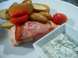 Baked salmon with watercress mayo