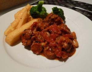 pork and chorizo with polenta chips_0