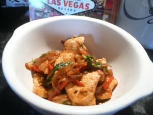 stir fried chicken with chillies and basil