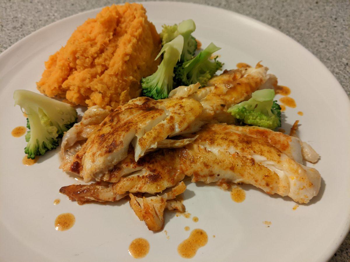 Pan fried haddock with sweet potato andbrocolli