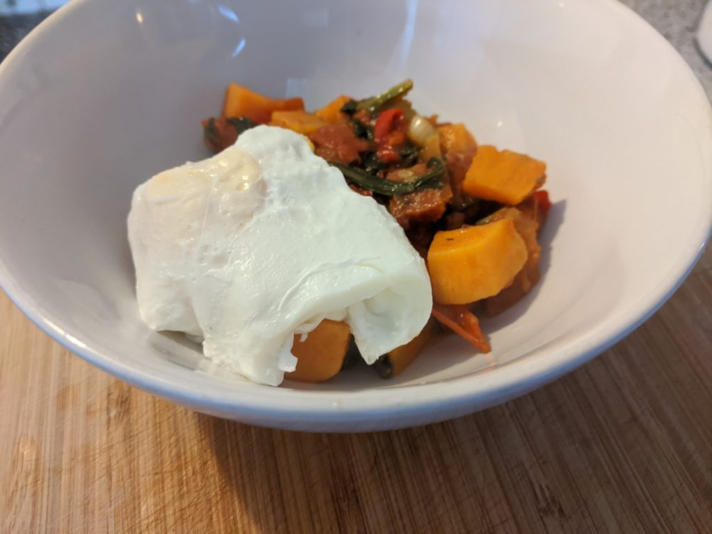 Chorizo, poached egg and sweet potato breakfast bowl